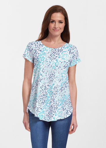 Cat Blue (7755) ~ Signature Short Sleeve Scoop Neck Flowy Tunic