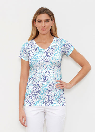 Cat Blue (7755) ~ Signature Cap Sleeve V-Neck Shirt