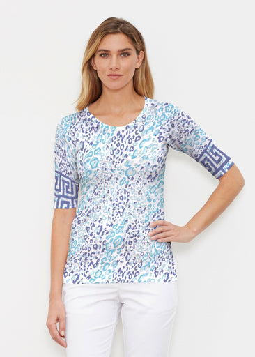 Cat Blue (7755) ~ Signature Elbow Sleeve Crew Shirt