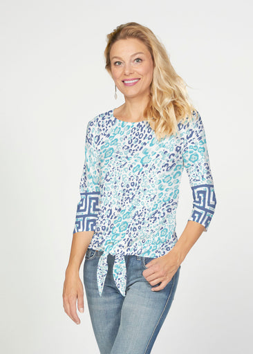 Cat Blue (7755) ~ French Terry Tie 3/4 Sleeve Top