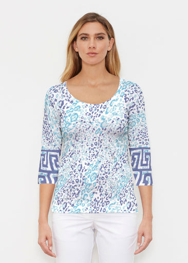 Cat Blue (7755) ~ Signature 3/4 Sleeve Scoop Shirt