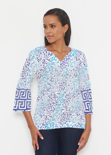 Cat Blue (7755) ~ Banded 3/4 Bell-Sleeve V-Neck Tunic