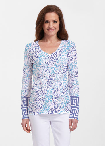 Cat Blue (7755) ~ Thermal Long Sleeve V-Neck Shirt