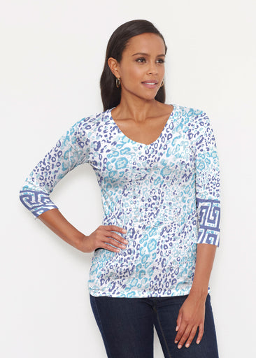 Cat Blue (7755) ~ Signature 3/4 V-Neck Shirt