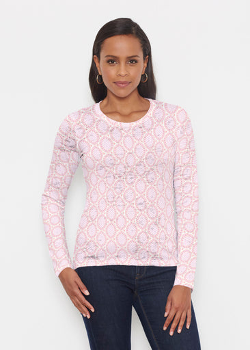 Coastal Lace Pink (7757) ~ Signature Long Sleeve Crew Shirt