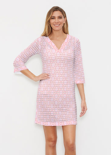 Coastal Lace Pink (7757) ~ Banded 3/4 Sleeve Cover-up Dress