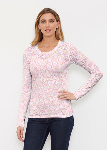 Coastal Lace Pink (7757) ~ Thermal Long Sleeve Crew Shirt