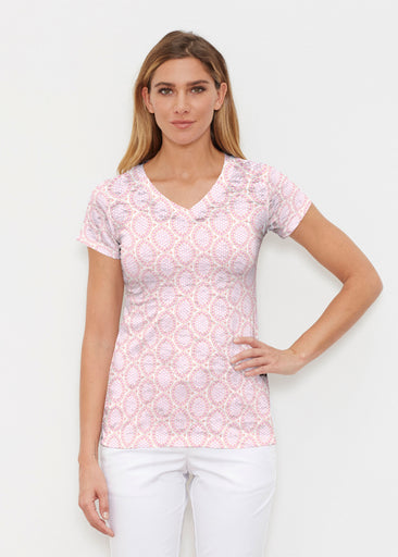 Coastal Lace Pink (7757) ~ Signature Cap Sleeve V-Neck Shirt