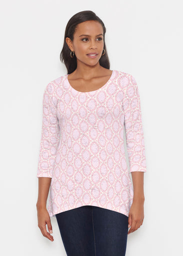 Coastal Lace Pink (7757) ~ Katherine Hi-Lo Thermal Tunic