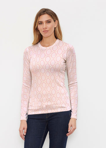 Coastal Lace Pink (7757) ~ Butterknit Long Sleeve Crew Top