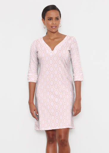 Coastal Lace Pink (7757) ~ Classic 3/4 Sleeve Sweet Heart V-Neck Dress
