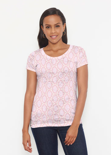 Coastal Lace Pink (7757) ~ Signature Short Sleeve Scoop Shirt