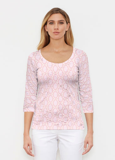 Coastal Lace Pink (7757) ~ Signature 3/4 Sleeve Scoop Shirt