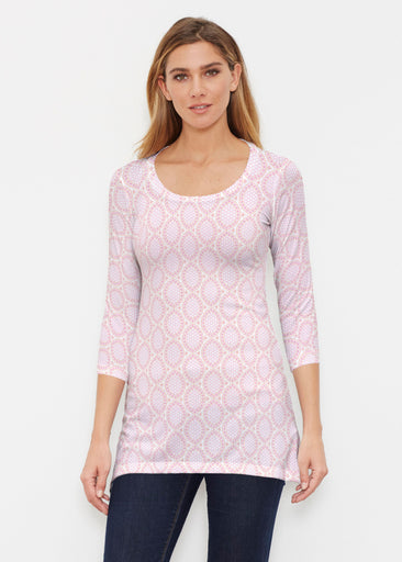 Coastal Lace Pink (7757) ~ Buttersoft 3/4 Sleeve Tunic