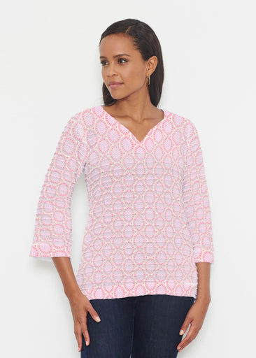 Coastal Lace Pink (7757) ~ Banded 3/4 Bell-Sleeve V-Neck Tunic