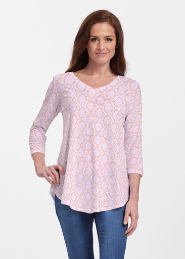 Coastal Lace Pink (7757) ~ Signature V-neck Flowy Tunic