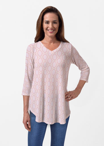 Coastal Lace Pink (7757) ~ Butterknit V-neck Flowy Tunic
