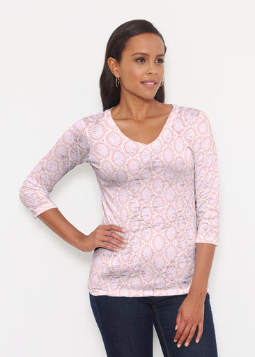 Coastal Lace Pink (7757) ~ Signature 3/4 V-Neck Shirt