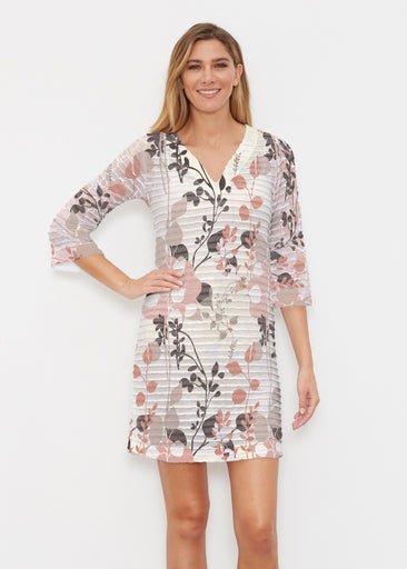 Flowers and Foliage (7765) ~ Banded 3/4 Sleeve Cover-up Dress