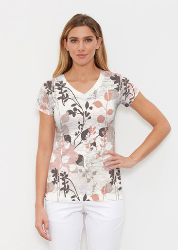 Flowers and Foliage (7765) ~ Signature Cap Sleeve V-Neck Shirt