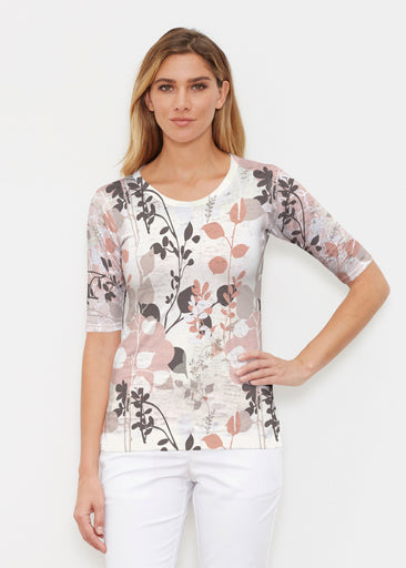 Flowers and Foliage (7765) ~ Signature Elbow Sleeve Crew Shirt