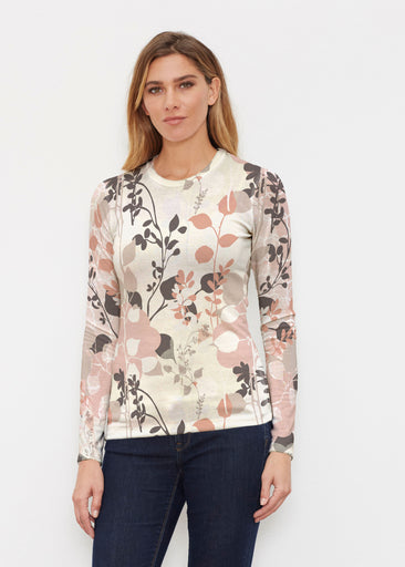 Flowers and Foliage (7765) ~ Butterknit Long Sleeve Crew Top