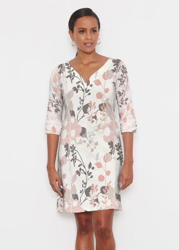 Flowers and Foliage (7765) ~ Classic 3/4 Sleeve Sweet Heart V-Neck Dress