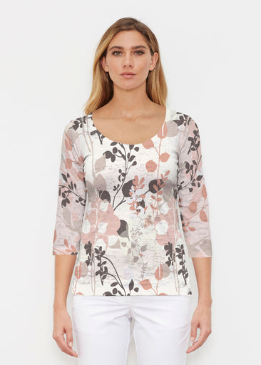 Flowers and Foliage (7765) ~ Signature 3/4 Sleeve Scoop Shirt