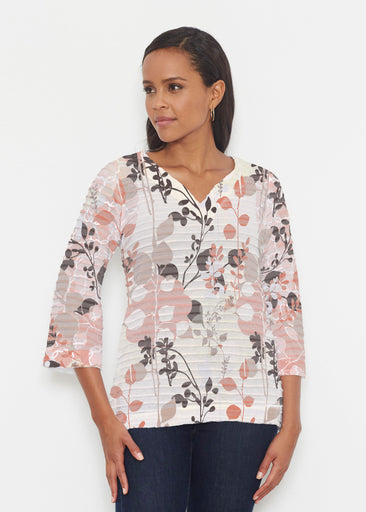 Flowers and Foliage (7765) ~ Banded 3/4 Bell-Sleeve V-Neck Tunic