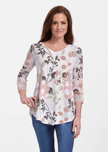 Flowers and Foliage (7765) ~ Signature V-neck Flowy Tunic