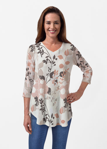 Flowers and Foliage (7765) ~ Butterknit V-neck Flowy Tunic