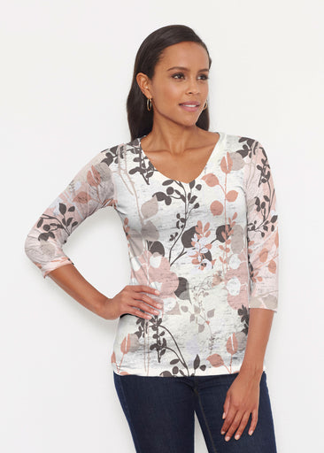 Flowers and Foliage (7765) ~ Signature 3/4 V-Neck Shirt