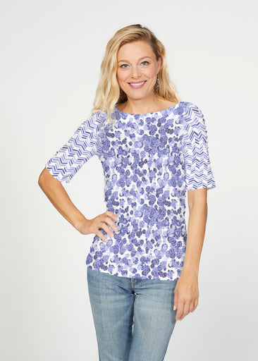 Oh Stamped (7784) ~ Banded Elbow Sleeve Boat Neck Top