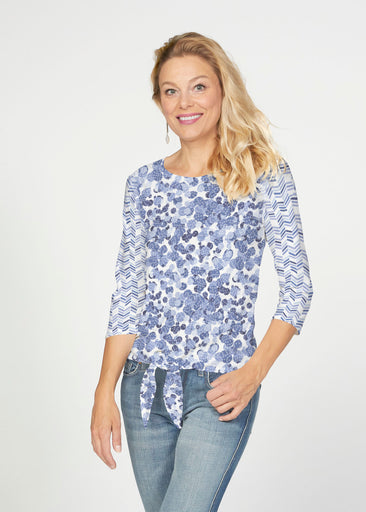 Oh Stamped (7784) ~ French Terry Tie 3/4 Sleeve Top