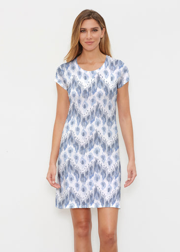 Tonal Waves Blue (7804) ~ Classic Crew Dress