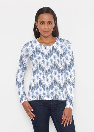 Tonal Waves Blue (7804) ~ Signature Long Sleeve Crew Shirt