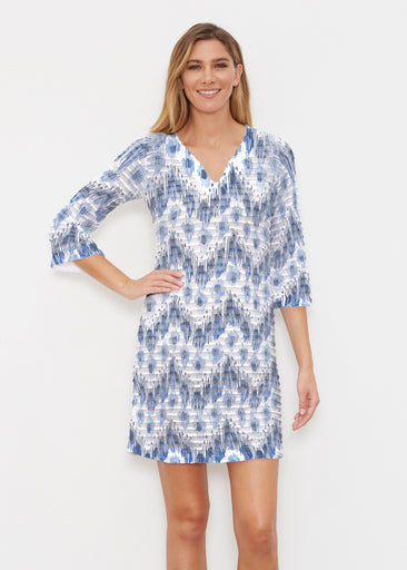 Tonal Waves Blue (7804) ~ Banded 3/4 Sleeve Cover-up Dress