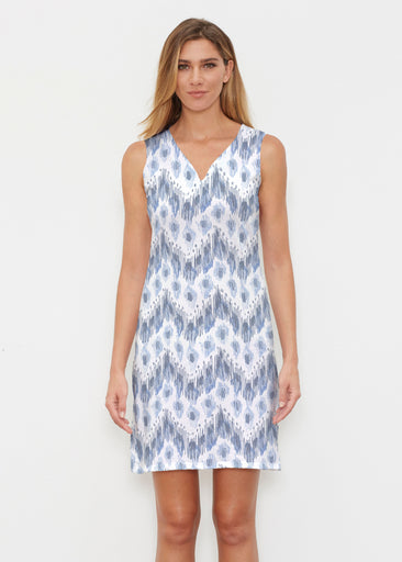Tonal Waves Blue (7804) ~ Classic Sleeveless Dress