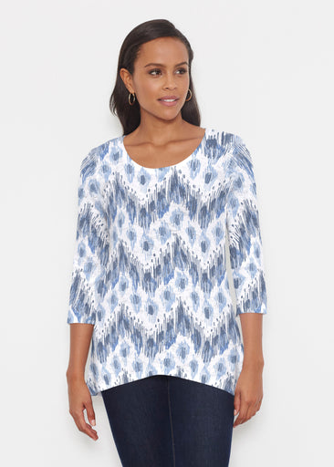 Tonal Waves Blue (7804) ~ Katherine Hi-Lo Thermal Tunic