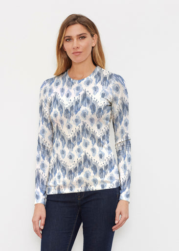Tonal Waves Blue (7804) ~ Butterknit Long Sleeve Crew Top
