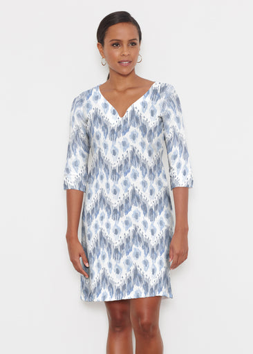 Tonal Waves Blue (7804) ~ Classic 3/4 Sleeve Sweet Heart V-Neck Dress