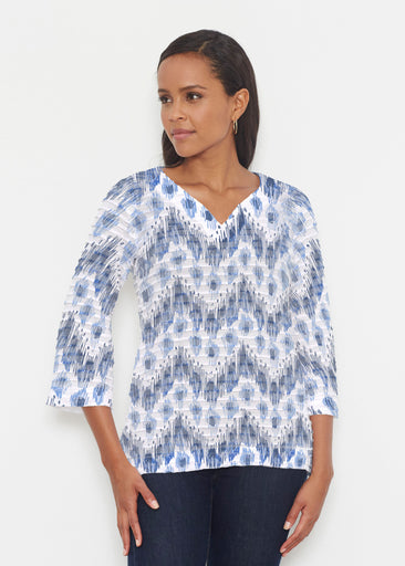 Tonal Waves Blue (7804) ~ Banded 3/4 Bell-Sleeve V-Neck Tunic