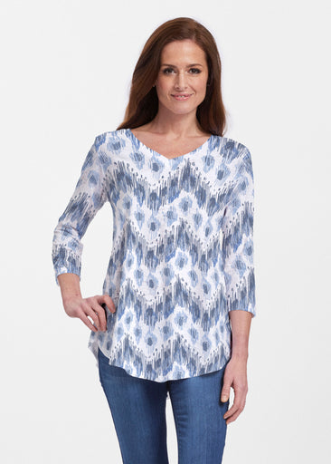 Tonal Waves Blue (7804) ~ Signature V-neck Flowy Tunic