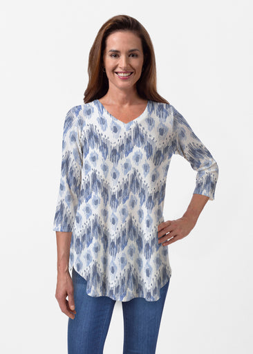 Tonal Waves Blue (7804) ~ Butterknit V-neck Flowy Tunic
