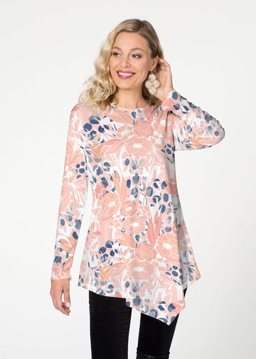 Day Dream Floral (7805) ~ Asymmetrical French Terry Tunic