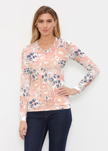 Daydream Florals (7805) ~ Butterknit Long Sleeve V-Neck Top