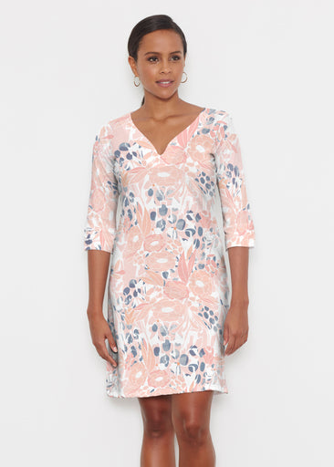 Daydream Florals (7805) ~ Classic 3/4 Sleeve Sweet Heart V-Neck Dress