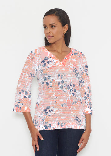 Daydream Florals (7805) ~ Banded 3/4 Bell-Sleeve V-Neck Tunic