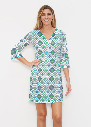 Cubed Blue (7807) ~ Banded 3/4 Sleeve Cover-up Dress