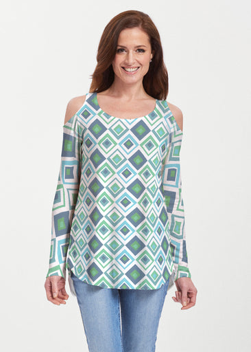 Cubed Blue (7807) ~ Butterknit Cold Shoulder Tunic